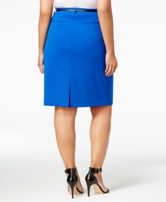 Calvin Klein Plus Size Belted Pencil Skirt