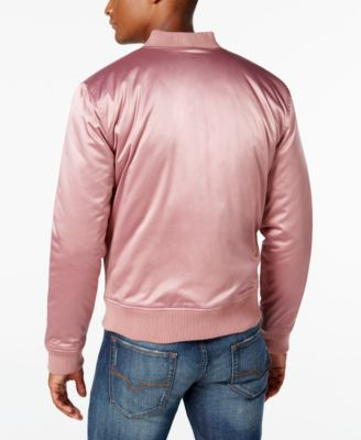 GUESS Mens Stretch Satin Bomber Jacket