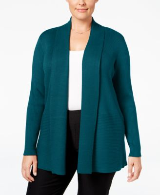 JM Collection Plus Size Ribbed Open-Front Cardigan, Only at Macy's