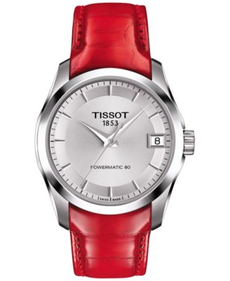 Tissot Womens Swiss Automatic Couturier Powermatic 80 Red Leather Strap Watch 32mm T0352071603101