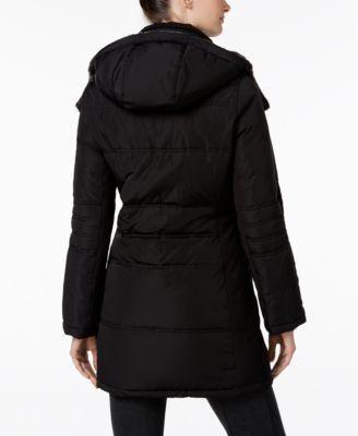 Calvin Klein Faux-Fur-Trim Asymmetrica..