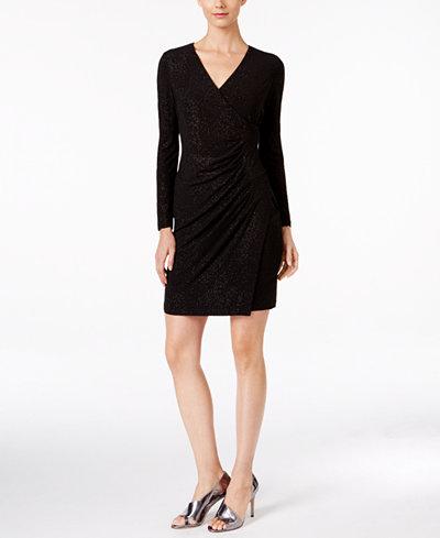 Calvin Klein Petite Sparkle Ruched Faux Wrap Dress