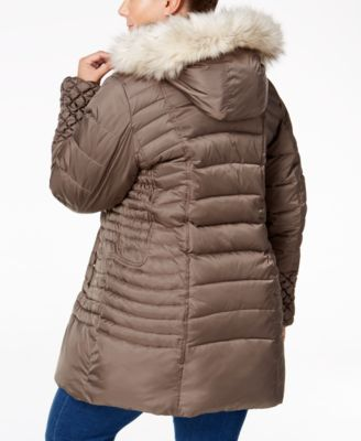 Betsey Johnson Plus Faux-Fur-Trim Quilted Puffer Coat