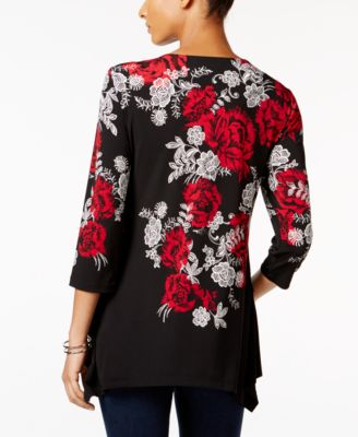 JM Collection Floral-Print Handkerchief-Hem Top