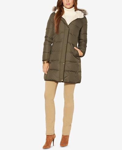 Lauren Ralph Lauren Petite Faux-Fur-Trim Hooded Down Coat ...