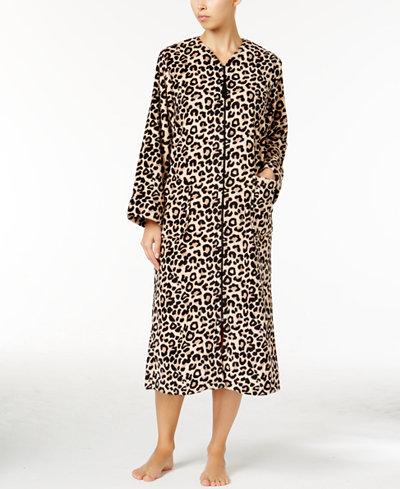 Miss elaine petite fleece zipper front robe bras for Robes de mariage petite macy