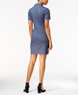 Tommy Hilfiger Diamond-Pattern Denim Shirtdress