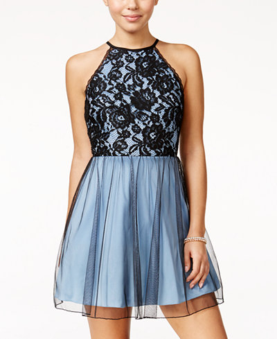 Speechless Juniors Lace Halter Fit Amp Flare Dress