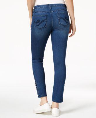 Earl Jeans Lace Up Hem Skinny Jeans