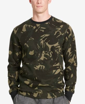 Polo Ralph Lauren Mens Big & Tall Camo Waffle-Knit Crew-Neck Thermal Top
