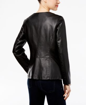 Alfani Petite Faux-Leather Peplum Jacket