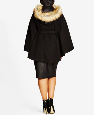 City Chic Trendy Plus Size Faux-Fur-Trim Capelet Coat