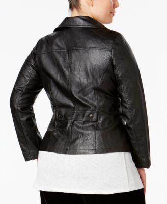 Alfani Plus Size Faux-Leather Moto Jacket
