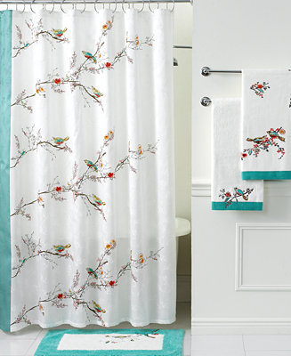 Lenox Simply Fine Bath Accessories Chirp Shower Curtain Bathroom Accessories Bed