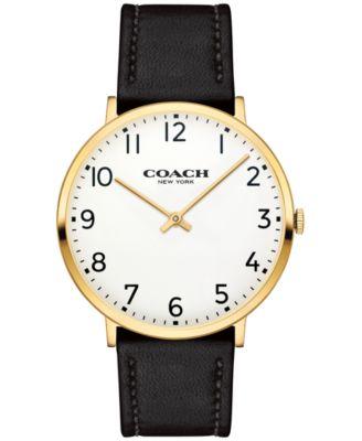 COACH Men's Slim Easton Black Leather Strap Watch 40mm 14602125