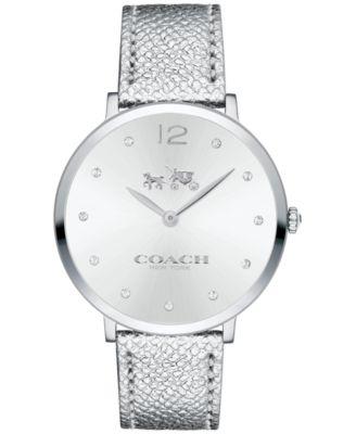COACH Women's Slim Easton Metallic Silver Leather Strap Watch 35mm 14502685