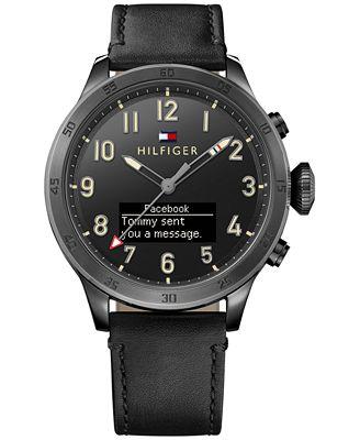 hilfiger s analog digital black leather
