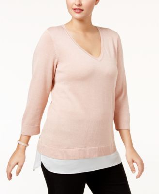 Calvin Klein Plus Size Layered-Look Sweater