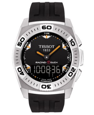 Tissot Watch Mens Swiss Racing-Touch Black Rubber Strap 46x43mm T0025201705102