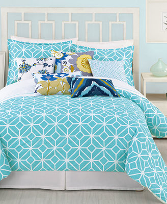 Trina Turk Trellis Turquoise Comforter and Duvet Cover Sets - Bedding ...