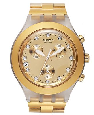 swatch unisex swiss chronograph blooded gold