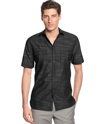 Alfani Big And Tall Short Sleeve Warren Shirt Casual