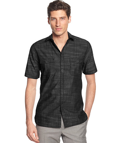 Alfani big and tall short sleeve warren shirt casual for Big and tall button up shirts