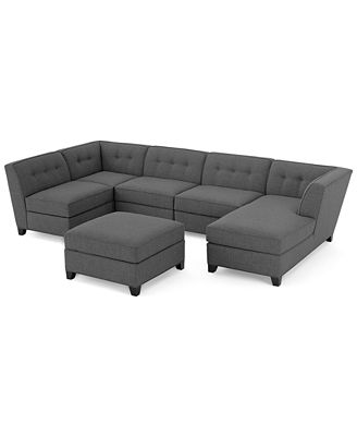 Harper Fabric 6 Piece Modular Sectional Sofa with Chaise & Ottoman Furniture Macy s