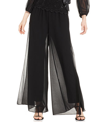 Alex Evenings Wide Leg Chiffon Pants Pants Amp Capris