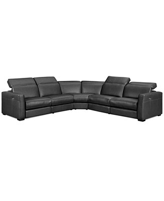 Nicolo 5 Piece Leather Reclining Sectional Sofa With 3