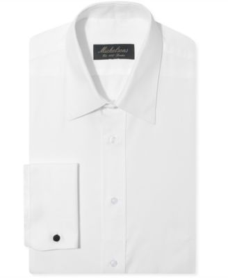 Michelsons Classic-Fit Chevron Texture Point French Cuff Tuxedo Shirt