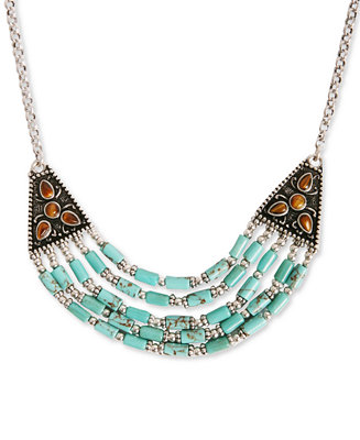 Lucky brand necklace silver tone turquoise beaded collar for Macy s lucky brand jewelry