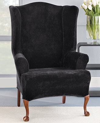 Sure Fit Stretch Plush 1 Piece Wing Chair Slipcover