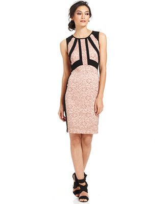 Ivanka Trump Metallic Lace Colorblocked Sheath Dress