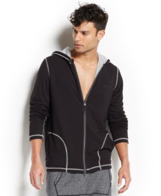 2xist Mens Loungewear Two-Tone Full-Zi..