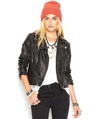 Free People Faux Leather Hooded Moto Jacket Jackets