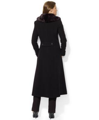 Lauren Ralph Lauren Faux-Fur-Collar Wool-Cashmere-Blend Maxi Coat