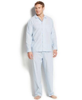 Club Room Mens Allure Blue Stripe Shirt and Pants Pajama Set