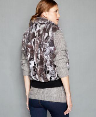 The Fur Vault Pieced Rabbit Fur Vest