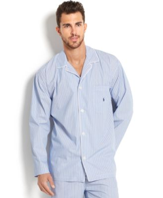 Polo Ralph Lauren Big and Tall Blue Andrew Stripe Mens Pajama Top