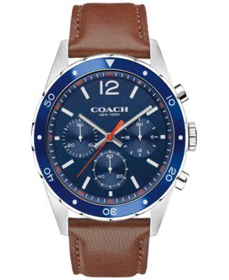 COACH MEN'S CHRONOGRAPH SULLIVAN SPORT BROWN LEATHER STRAP WATCH 44MM 14602038, MACY'S EXCLUSIVE