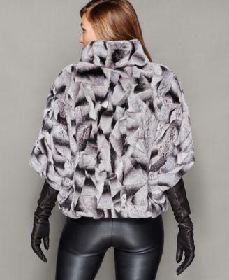 The Fur Vault Rabbit Fur Batwing-Sleeve Jacket