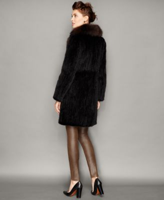 The Fur Vault Fox-Trim Knitted Mink Fur Coat