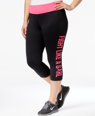 Ideology Plus Size Breast Cancer Awareness Crop Leggings, Only at Macy's