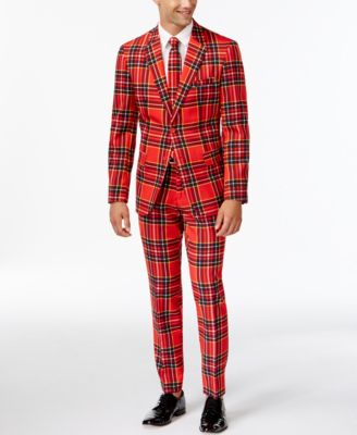 OppoSuits Slim-Fit Red Plaid Suit and ..