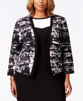 Nine West Plus Size Printed Jacket
