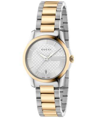 Gucci Womens Swiss G-Timeless Two-Tone PVD Stainless Steel Bracelet Watch 27mm YA126531