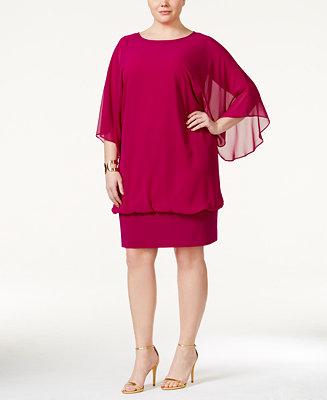 MSK Plus Size Chiffon-Overlay Sheath Dress - Dresses ...