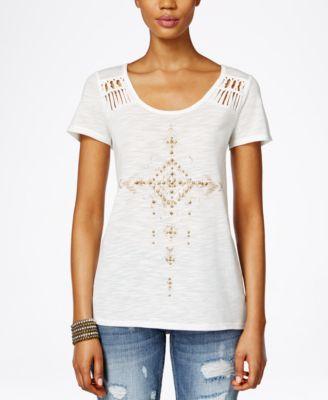 Miss Me Short-Sleeve Stud-Embellished Top