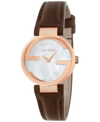 Gucci Womens Swiss Interlocking Brown Leather Strap Watch 29mm YA133516